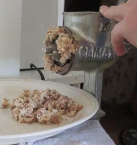 meat grinder, chicken meat, grinding chicken,