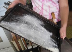 Flour, baking sheet, jelly roll pan,