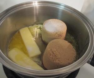 brown sugar, corn syrup, butter, salt, caramel mixture, caramel corn,