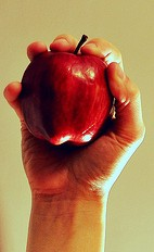 hand, hand out, Red apple, apple,