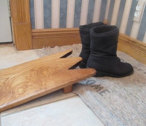 home-made gift, home-made boot-jack, wooden boot-jack, snow boots, oak mopboard, oak trim, shaped oak trim,