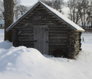 Snow, log cabin, Wintry log cabin, winter scene,