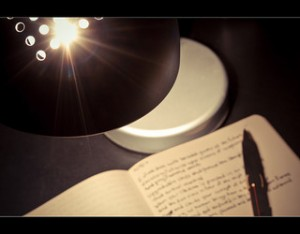 desk lamp, journal, pen, writing, diary,