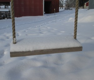 swing, rope swing, snow on the farm, snow on a swing.