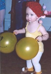 girl, balloons,