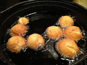 donut holes frying in deep-fat, frying donuts,