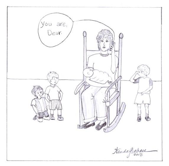 cartoon, Motherhood, rocking chair,