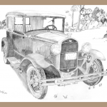 Model A Ford pencil drawing, Model A Ford, 1931 Model A Ford, Print of 1931Model A Ford, Notecard of Model A Ford,