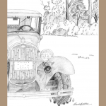 Print of Model A Ford, Model A Ford, pencil drawing of Model A Ford, Model A Ford card, Model A Fordnotecard,
