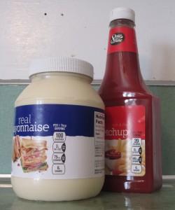 mayonnaise, ketchup, plastic bottles,