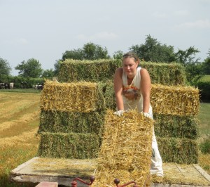 Straw bales, hay bales, hay wagon, bale placement on wagon
