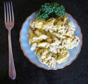 Scrambled Eggs, herbed, kale garnish,