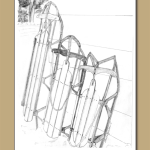 Winter card, pencil drawn sleds, runner sleds,