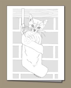 white kitten, white kitten pencil sketch, Christmas stocking, Kitten Christmas card,