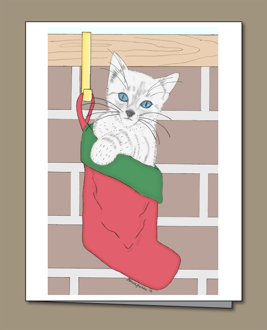 Kitten, white kitten, Kitten Christmas card. Christmas stocking,