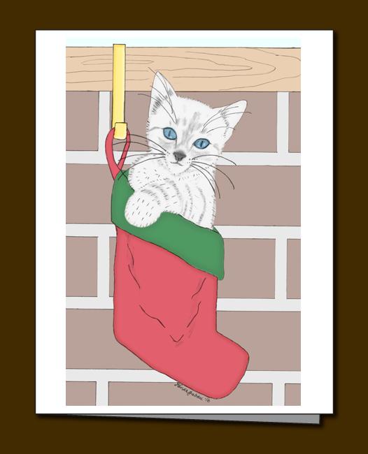Kitten, white kitten, Kitten Christmas card. Christmas stocking,