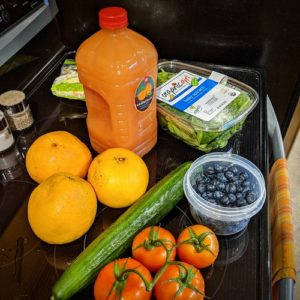 oranges, juice, tomatoes, blueberries,